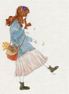 봄이 오는 소리에... 살랑거리는 치마입고 봄마중 가고 싶어라..... Pallette, Anime Art Girl, Illustration Girl, Kawaii Girl, Petunias, Cute Drawings, Cute Wallpapers, Cute Art, Amazing Art