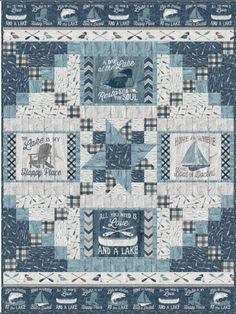 Of all the paths you take in life, make sure one leads to your favorite lake! This inspiring lake quilt is the perfect accent for your weekend getaway. Pieced panel kit contains a pattern and A Day at Quilt Block Patterns, Quilt Blocks, Quilting Projects, Quilting Designs, Quilting Ideas, Sewing Projects, Nautical Quilt, Wilmington Prints, Panel Quilts