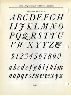 """Caslon Italic: J. Albert Cavanagh's ultimate litmus test for the hand letterer: """"It embodies the fundamentals of all Script letters and the artist who can draw Caslon Italic well will be able to letter Script with equal facility and perfection."""" (Lettering & Alphabets,1946)"""