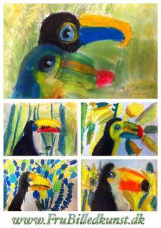 """Så har min 1.klasse fået deres første """"rigtige"""" billeder færdige. Inden da har de arbejdet med formalfabetet, abstrakt tegnelegog tegnet deres """"første fugl"""". Tukaner er et godt efterfølgende valg:..."""