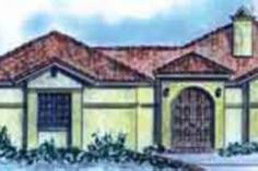 The best southwestern house floor plans. Find contemporary, Santa Fe & desert style home plans w/stucco, courtyard & more! Elevation Plan, Front Elevation, Desert Homes, Southwestern Style, House Floor Plans, Square Feet, Exterior, Contemporary, How To Plan