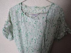 Vintage 1940's Silk Day Party Dress Green and White Print Design #Forgetmenot #EmpireWaist #EverydayParty