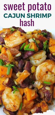 Cajun Shrimp Sweet Potato Hash is a delicious, healthy dish filled with sweet potatoes, beans, corn, and Cajun shrimp. A complete one-pan dinner! Oh, and it's also celiac-friendly because it's gluten free! #cajun #shrimp #sweetpotato #beans  #kidneybeans #hash #spicy #sweetpotatohash #glutenfree #southwestern