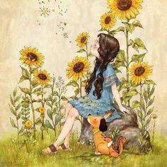 해바라기처럼 (Like a Sunflower) (Full Ver. http://grafolio.com/works/179202) 뜨거운 여름 햇살이라도 상관없어요. 때로는 묵묵히 그 자리를 지키고서, 가만히 해만을 바라보는 사람이 되고 싶어요. 마치 한 송이 해바라기처럼요. I don't care about the hot weather and the strong sunlight. Sometimes, I just want to stand still and look at the sun. Like a sun flower. #일러스트 #일러스트레이션 #해바라기 #햇살 #해 #원피스 #강아지 #소녀 #데님원피스 #꽃 #illust #illustration #drawing #sketch #paint #girl #sunflower #onepiece #sunlight #dog