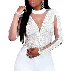 e1e088464349b Eiffel Sexy Womens Gold Studs Bodysuit Jumpsuit Romper Clubwear White      Read more at
