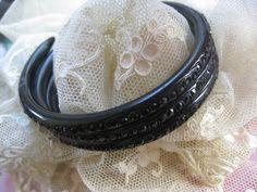 Deco Jeweled Black Celluloid Bracelet