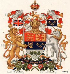 1926 The Canadian Coat of Arms Canadian Coat Of Arms, Canadian Army, Canadian History, Canadian Flag Tattoo, Vaporwave Wallpaper, Canadian Things, Canada Eh, Diy Canvas Art, Flags Of The World