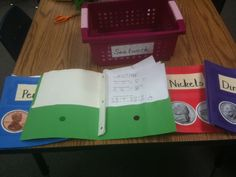 math folders, the penny group.  Green means working on it, red do mean finished