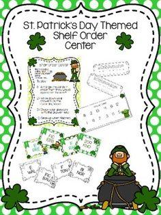 St. Patrick's Day themed shelf order center $ on TpT