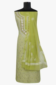 Ada #handembroidered #green  #georgette #lucknowi #chikankari  Unstitched Suit Piece – A550948