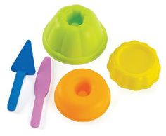 Hape Bakers Trio Simple and colourful beach or sand pit sculpture fun! fill the jelly cake and pastry moulds then serve up with the spatula or cake knife.made to hape environmentally friendly and high quality standard http://www.MightGet.com/january-2017-12/hape-bakers-trio.asp