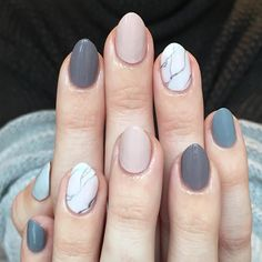 A marble accent paired with an ombré mani. nailart over nails in nude + shades of grey @purplenailbox