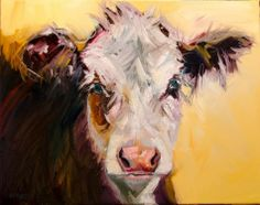 ARTOUTWEST DIANE WHITEHEAD BED HEAD COW ANIMAL ART OIL PAINTING ORIGINAL, painting by artist Diane Whitehead