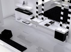 Salle de bain noir et blanc thg Sol brillant et effet domino sur le miroir : cette salle de bains contemporaine affirme son caractère ! Salle de bains collection O - Christofle et Studio Putman pour THG, en vente sur Espace Aubade