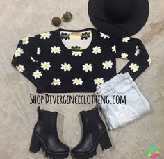 SHOP DIVERGENCE CLOTHING  #daisysweater #sweaterweather #fall #fallfashion #cropsweater #cuteoutfit #chelseaboots #tumblroutfits #sweater #autumn #grungefashion #grunge #divergenceclothing
