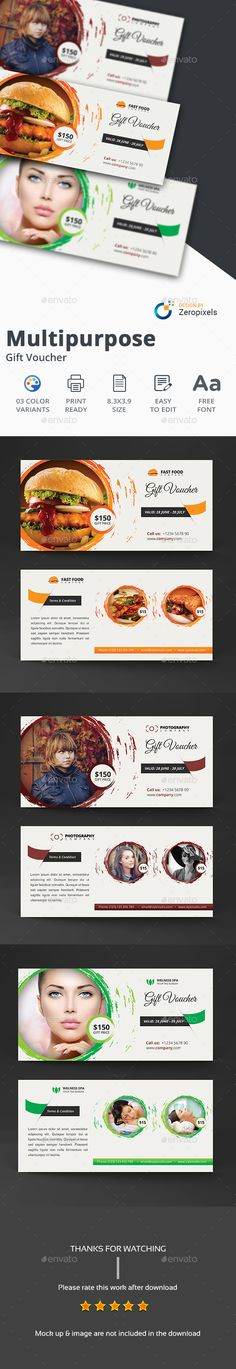 Multipurpose Gift Card Certificate / Voucher Design Template - Cards & Invites Print Template PSD. Download here: https://graphicriver.net/item/multipurpose-gift-card-certificate-voucher/17356018?ref=yinkira