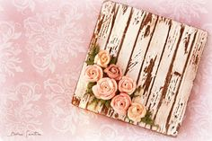 Shabby Chic Cookie:  White-washed Wood Grain with Pastel Pink-hued Roses