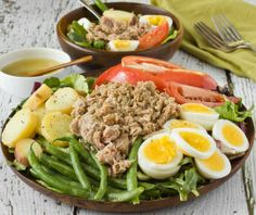 Dinner Recipe: Classic Salad Niçoise Recipes from The Kitchn I would still use tuna/albacore in water and not have so much protein on the plate.  Perhaps one egg for two people and mix the tuna with some cannellini beans.  Nix the potatoes unless they are soaked for at least 4 hours to leach the K+.