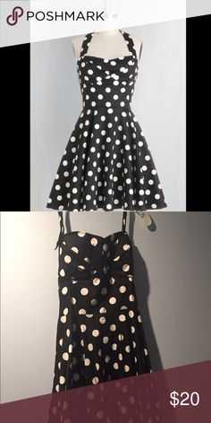 Modcloth Traveling Cupcake Dress - L Modcloth black and white polkadot traveling cupcake dress, size L - Worn two or three times. Good Condition - Smoke free home with pets. Home dry cleaned but a professional dry clean wouldn't hurt. I'm selling several other retro style dresses that I love and no longer fit me, so if you are interested in bundling I'd be happy to give you a good discount on all. ModCloth Dresses Mini