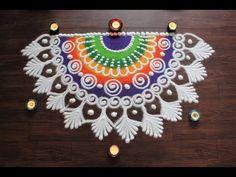 Simple and beautiful semi circle sanskar bharti rangoli designs for Diwali Easy Rangoli Designs Diwali, Rangoli Designs Latest, Simple Rangoli Designs Images, Rangoli Designs Flower, Rangoli Border Designs, Rangoli Ideas, Diwali Rangoli, Rangoli Designs With Dots, Flower Rangoli