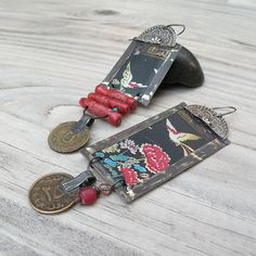 Recycled Tin Earrings Asymmetrical Tin Earrings Kuchi Coin