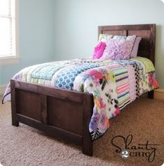 DIY twin kids bed (with trundle option) inspired by Pottery Barn Kids - built following plans from Ana White