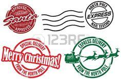 Santa Claus Sellos de entrega de correo de regalos de navidad. Foto de archivo.