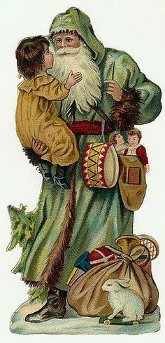 Traditional Green Father Christmas stands with child in arms Source: Vintage Images Vintage Christmas Images, Old Fashioned Christmas, Christmas Past, Victorian Christmas, Father Christmas, Christmas Items, Vintage Holiday, Christmas Pictures, Vintage Images