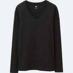 WOMEN Supima Cotton V Neck Long Sleeve T-Shirt