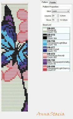 Very pretty butterfly beading loom pattern. Loom Bracelet Patterns, Peyote Stitch Patterns, Seed Bead Patterns, Bead Loom Bracelets, Weaving Patterns, Jewelry Patterns, Embroidery Bracelets, Macrame Bracelets, Mochila Crochet