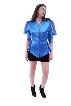 Glamor Blue Sophisticated Vintage Blouse For Women 1970s