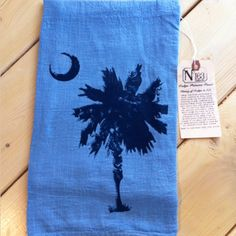 A signature No. 163 Designs product!  These 100% cotton flour sack towels are hand dyed using natural indigo from Charleston, South Carolina, and then hand printed with navy ink.  This towel also includes a tag explaining the historical significance of indigo in S.C.  www.163designs.com Murrells Inlet Sc, Black Sheep Of The Family, Myrtle Beach Sc, Flour Sack Towels, My Crazy, South Carolina, Charleston, Lazy, Vintage Inspired