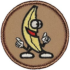 "Dancing Banana Patrol Patch - 2"" Diameter Round Embroidered Patch"