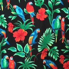 Banana Jack Hawaiian Shirt XL Black Blue & Red Parrots Macaws Red Hibiscus Aloha #BananaJack #Hawaiian