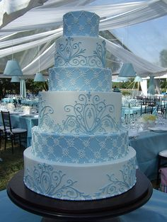 Baby blue wedding cake