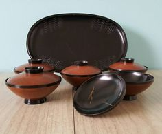 Vintage Rice Bowl Set With Lids, Wood Look Japanese Soup Or Rice Bowl Set With Tray by Shirokiya Japan Hawaii