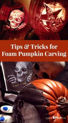 Tips & Tricks for Foam Pumpkin Carving - Made By Barb - faux pumpkins Pumpkin Carving Tips, Awesome Pumpkin Carvings, Disney Pumpkin Carving, Pumpkin Carving Templates, Fake Pumpkins, Halloween Pumpkins, Halloween Decorations, Carved Pumpkins, Halloween Labels