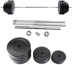 132 LB Barbell Dumbbell Weight Set Gym Lifting Exercise Curl Bar Workout #WeightSet