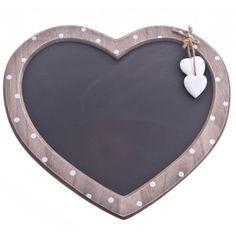 Gisela Graham Polka Dot Wooden Heart Chalkboard