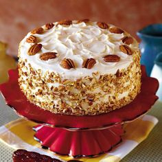 Irish Cream Cake | The Irish cream liquor in this cake makes the recipe extra-special. Butterscotch filling and a cream cheese frosting make it divine.