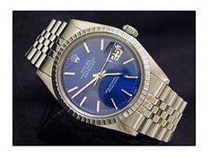 Mens Rolex Stainless Steel Datejust w/Submariner Blue Dia…