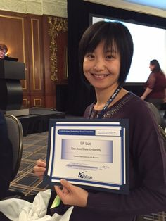 Lili Luo, SJSU iSchool associate professor, proudly accepted the ProQuest Methodology Paper Competition Award at the 2016 ALISE Conference in Boston. One of her coauthors for this award is alumnus John Jackson (not pictured). San Jose State University, Associate Professor, In Boston, Getting To Know, Conference, Competition, Jackson, Presentation, Lily