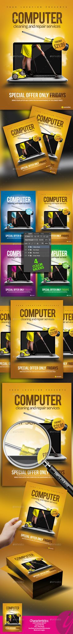 Computer Services Flyer — Photoshop PSD #monitor #computer repair • Download ➝ https://graphicriver.net/item/computer-services-flyer/19077931?ref=pxcr