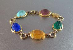 Vintage 12K Gold Filled Carved Scarab Bracelet by LynnHislopJewels