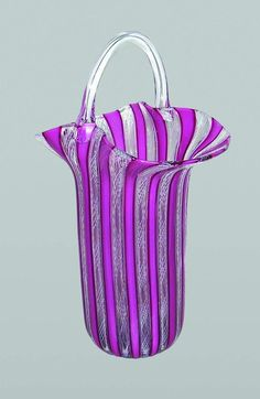 "Murano glass pink striped ""basket"""