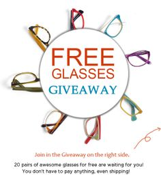 20 pairs of awesome glasses for free are waiting for you!  You don't have to pay anything, even shipping!