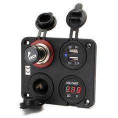 12V-Car-Dual-Cigarette-Lighter-Plug-Socket-Dual-USB-Port-Charger-Voltmeter-4-Way