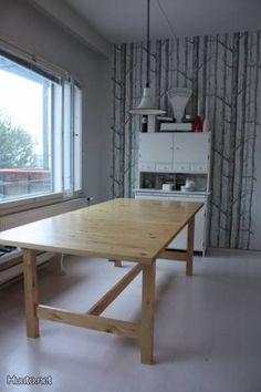 "IKEA Norden dining table - can extend to seat 8-10 people, solid birch $399  Min. length: 86 5/8 ""  Max. length: 104 3/4 ""  Width: 39 3/8 ""  Height: 29 1/2 """