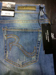 ROCK & REPUBLIC Banshee Womens 8/29 Distressed Mid-Rise Super Skinny Jeans #RockRepublic #SlimSkinny $49.99