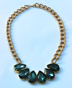 DIY: Emerald Green Sew On Jewel 'N Chain Necklace Any large jewels would be nice. I'm going to make mine in sapphire!